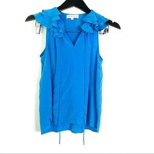Amanda Uprichard Blue Silk Ruffle Neck Blouse Top
